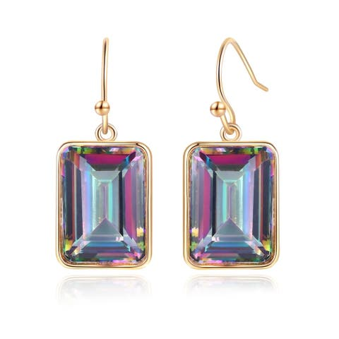 Gold Plated Lab Created Emerald Cut Mystic Topaz Drop Earrings