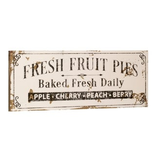 White Fresh Fruit Pies Sign
