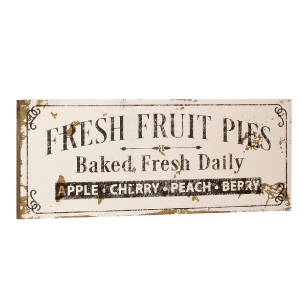 White Fresh Fruit Pies Sign