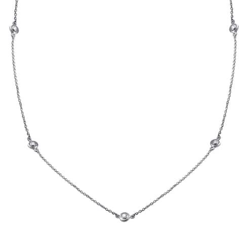 14k White Gold 3/8ct TDW Diamond Necklace 26 Inch