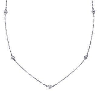 14k White Gold 3/8ct TDW Diamonds By The Inch Necklace 26 Inch