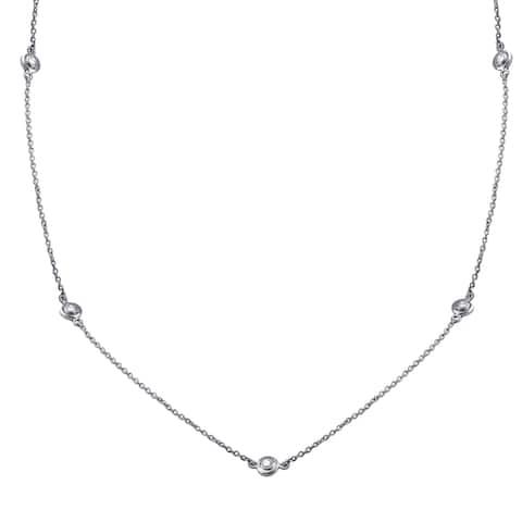 14k White Gold 1/2ct TDW Diamonds Necklace 30 Inch