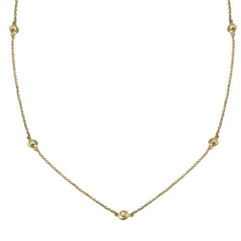 14k Yellow Gold 3/8ct TDW Diamonds Necklace 26 Inch
