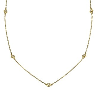 14k Yellow Gold 3/8ct TDW Diamonds By The Inch Necklace 26 Inch
