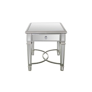 Best Quality Furniture Square Silver Mirrored Glass/Wood End Table