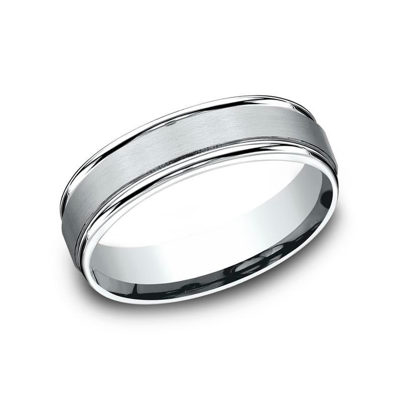 Shop 10k White Gold 6mm Men S Satin Finished Round Edge Comfort