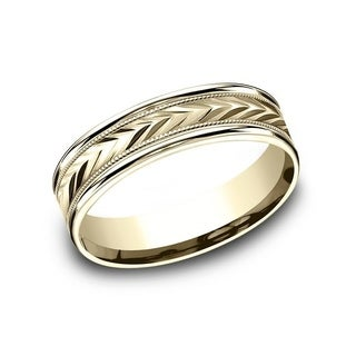 10K Yellow Gold 6mm Men's Wheat Pattern Round Edge Comfort-Fit Wedding Band