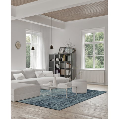 "ADDISON Distinctive Distressed Panel Blue Boarder Area Rug 3'3"" x 5'1"" - 3'3"" x 5'1"""
