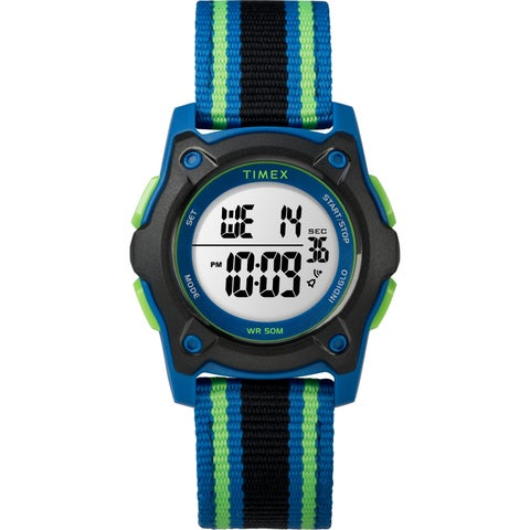 Timex Kids TW7C26000 Time Machines Digital 35mm Blue/Black/Green Double-Layered Nylon Strap Watch - Blue