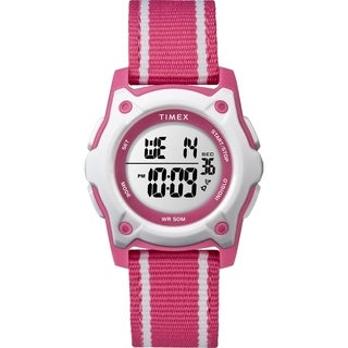 Timex Kids TW7C26200 Time Machines Digital 35mm Pink/White Double-Layered Nylon Strap Watch - Pink