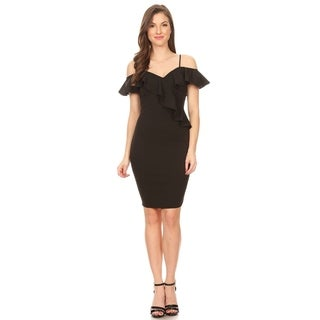 Women's Casual Short Length Bodycon Fit V-Neck Ruffled Trim Dress