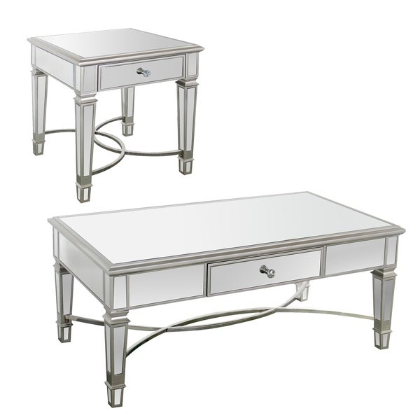 Silver Coffee Table And End Table Set: Shop Best Quality Furniture Silver Mirrored Accent Table