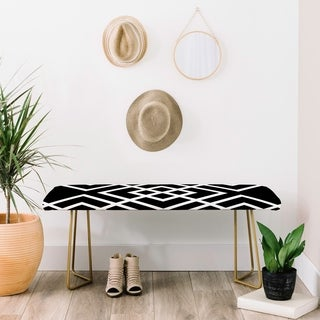 Deny Designs Three of the Possessed In-between Black/White/Goldtone Faux Leather/Metal Bench