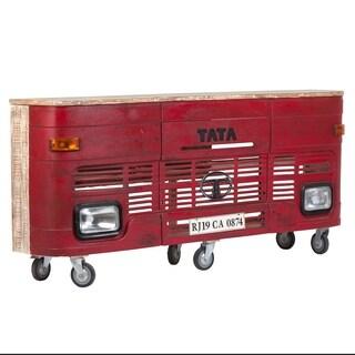 Wanderloot Tata Red Metal Wood Truck Bar with Working Headlights