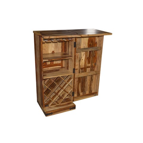"Wanderloot Taos Solid Sheesham Wood Loft Size Bar Cabinet with Bottle & Wine Glass Storage - 45""H x 19""W x 19""L"
