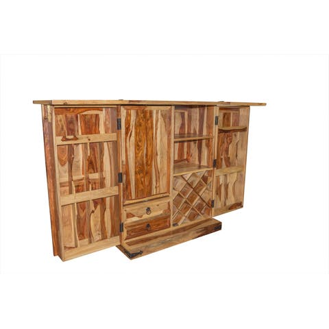 "Wanderloot Taos Solid Sheesham Wood Bar Cabinet with Bottle & Wine Glass Storage - 45""H x 19""W x 36.5""L"