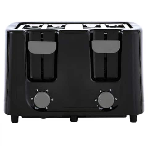 Continental Electric 4-Slice Toaster Wide Slot, Cool Touch Black