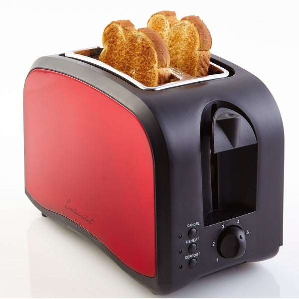 Continental Electric 2-Slice Toaster Adjustable Browning, Red or Black