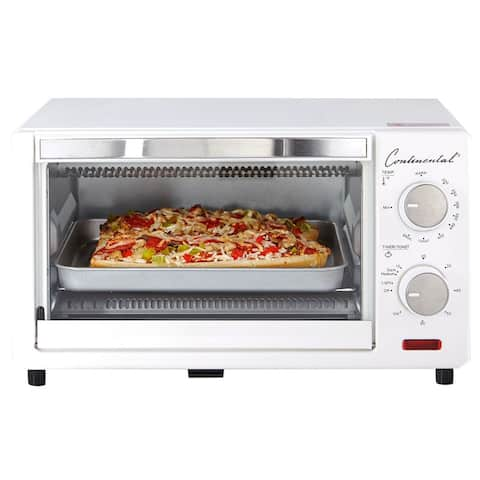Continental Electric Toaster Oven, 60 Minute Timer, White