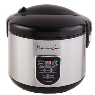 Professional Series Digital Rice Cooker 20-Cup LED Display Stainless - N/A