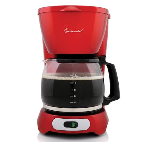 Continental Electric 12-Cup Coffee Maker Metallic Red