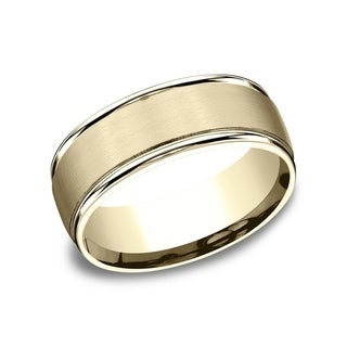 10K Yellow Gold 8mm Men's Satin Finished Round Edge Comfort-Fit Wedding Band