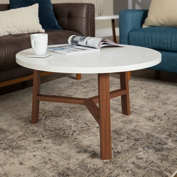 """Shop 30"""" Round Faux Marble Top Coffee Table"""