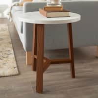Mid-Century Modern Round Accent Side Table