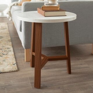 """20"""" Round Faux Marble Top Side Table - 20 x 20 x 22h"""