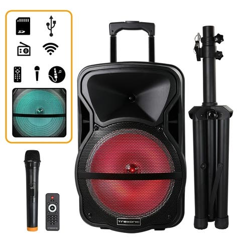 Trexonic Combination 12 Inch Portable Bluetooth Speaker and Tripod Stand with Reactive Lights, FM Radio and USB/TF Inputs