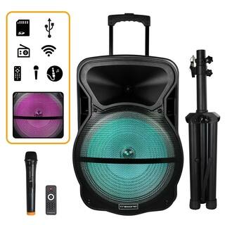 Trexonic Combination 15 Inch Portable Bluetooth Speaker and Tripod Stand with Reactive Lights