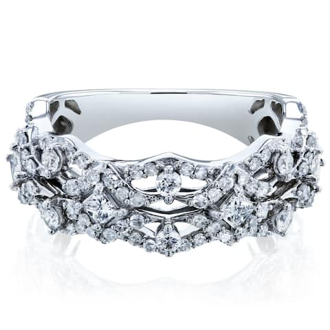 Annello by Kobelli 10k White Gold 2/3ct TDW Diamond Fashion Band
