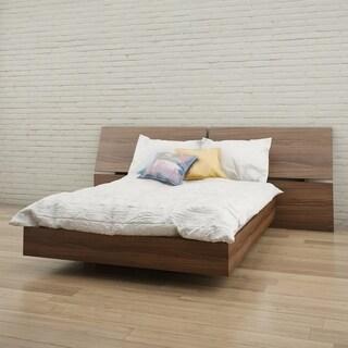 Nexera Alibi Platform Bed with Panoramic Headboard, Walnut