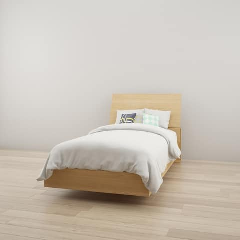 Nexera Nordik Twin Size Platform Bed with Headboard, Natural Maple
