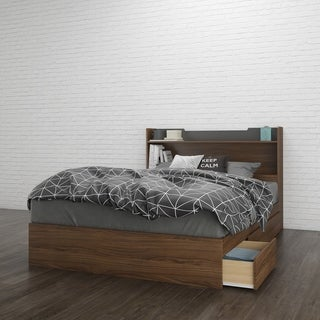 Nexera Alibi Storage Bed with Headboard, Walnut and Charcoal