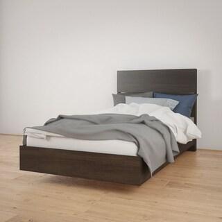 Nexera Opaci-T Platform Bed with Headboard, Ebony
