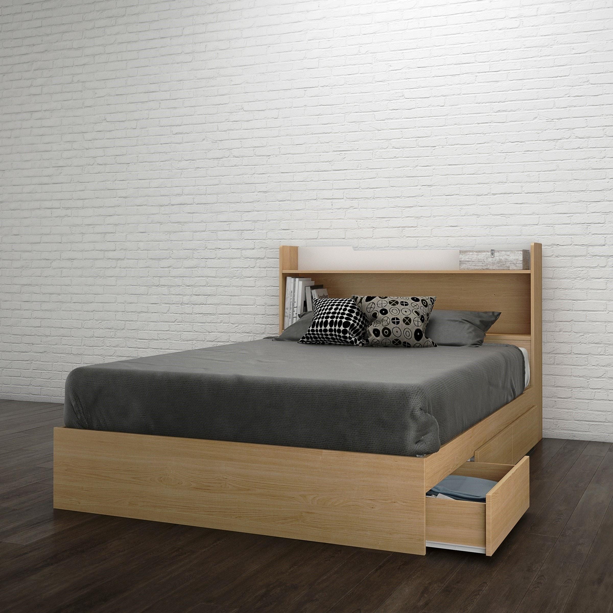 Nexera Nordik Storage Bed With Headboard Natural Maple And White