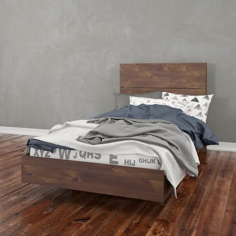 Nexera Nocce Platform Bed with Headboard, Truffle