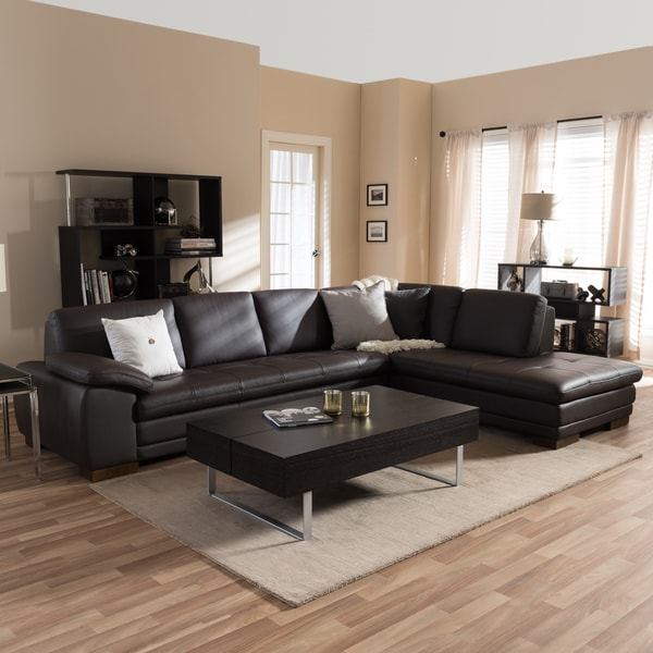 Shop Diana Dark Brown Leather Sectional Sofa Set Free Shipping