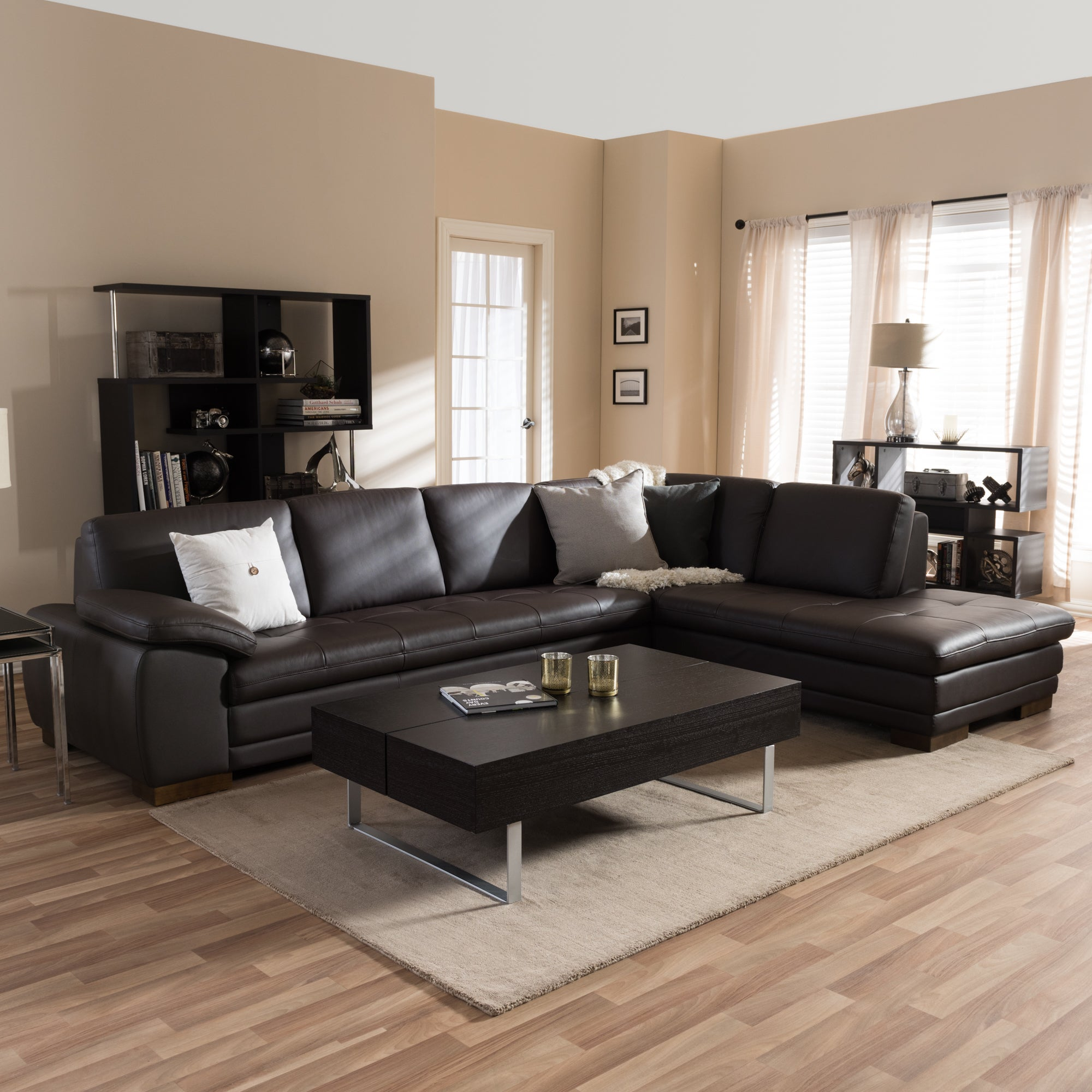 Details about Diana Dark Brown Leather Sectional Sofa Set Brown