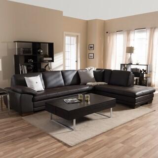Superb Diana Dark Brown Leather Sectional Sofa Set
