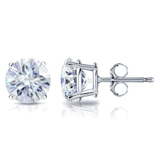 Auriya Platinum 3ct TGW Round Brilliant Moissanite Stud Earrings