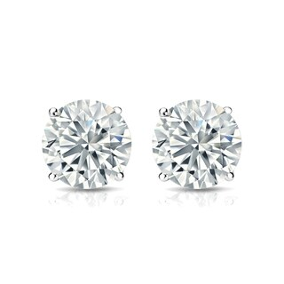 Auriya Platinum 2ct TGW Round Brilliant Moissanite Stud Earrings