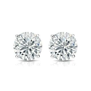 Auriya 14k Gold 2ct TGW Brilliant Round Moissanite Stud Earrings
