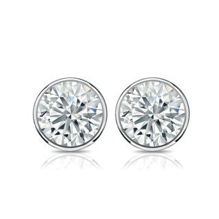 Auriya Platinum 3ct TGW Round Brilliant Bezel Set Moissanite Stud Earrings