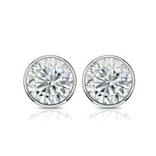 Auriya Platinum 2ct TGW Round Brilliant Bezel Set Moissanite Stud Earrings