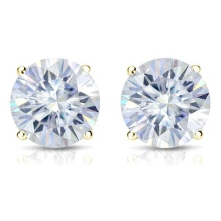 Auriya 18k Gold 2ct TGW Brilliant Round Moissanite Stud Earrings (2 options available)
