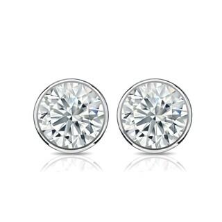 Auriya 14k Gold 3ct TGW Brilliant Round Moissanite Stud Bezel Earrings