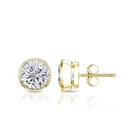 Auriya 14k Gold 2ct TGW Round Brilliant Bezel Set Moissanite Stud Earrings