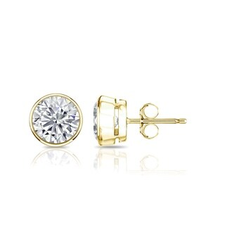 Auriya 14k Gold 2ct TGW Brilliant Round Moissanite Stud Bezel Earrings